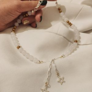WHITE AGATE AND GOLD HEMATITE NECKLACE - THE ENERGY OF THE WORLD OF STONES